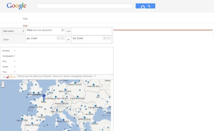 Google Flights Search est disponible en France