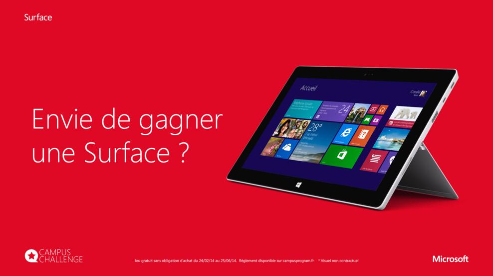 Microsoft Campus Challenge - Une Surface 2 offerte ça vous intéresse ?