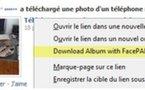 FacePAD - une extension Firefox pour télécharger des albums photos complets depuis FaceBook