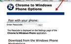 Envoie de liens de Chrome vers Windows Phone 7