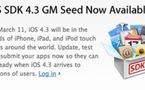 iOS 4.3 GM Seed est disponible au téléchargement !
