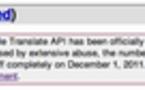 (info) Google stoppe l'API de Google Translate