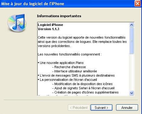 Mise a jour du iPhone avec le firmaware 1.1.3 c'est parti