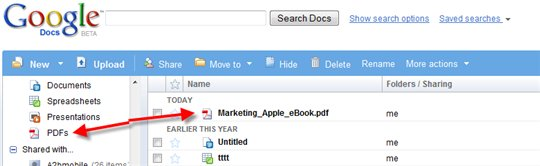 Google Documents supporte maintenant les PDF