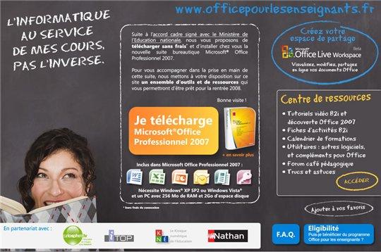 Microsoft Office 2007 gratuit pour les enseignants