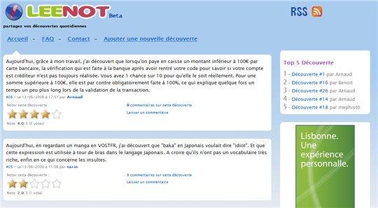 Leenot - Partagez vos découvertes quotidiennes