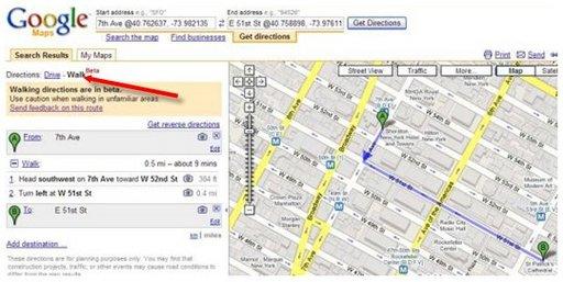 Bientot Google Maps pour les piétons ?