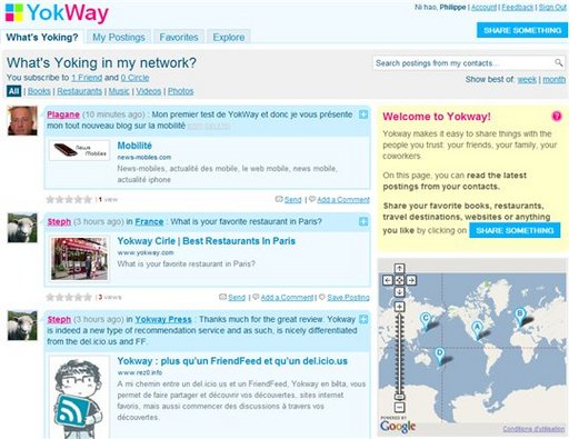 Yokway - un savant mélange de Friendfeed et Delicious réunis