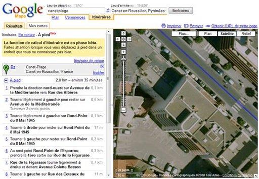Google Maps pour les pietons est accessible en phase BETA