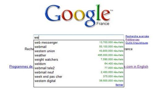 Google Suggest est maintenant sur Google.fr