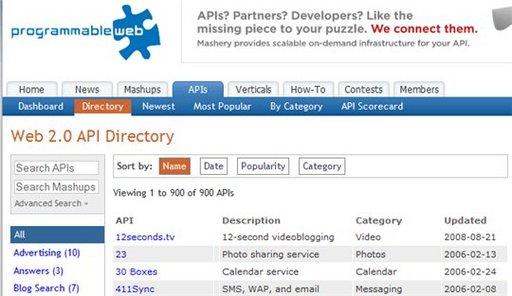 Un listing de 900 API