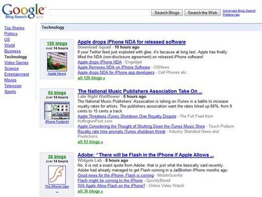 Google Blogsearch vient marcher sur les plate-bandes de Techmeme, Technorati ou même Wikio ?