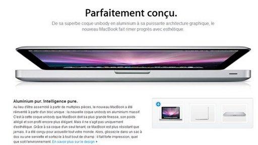 Selon Apple.fr le nouveau MacBook est Parfaitement con ... çu