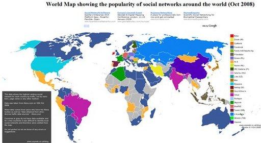 La mappemonde des réseaux sociaux