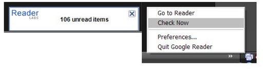 Google Reader Notifier - Soyez prévenu des mises à jours des flux RSS