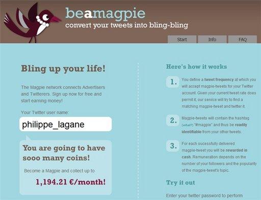 Be A Magpie - Monétisation de votre compte Twitter