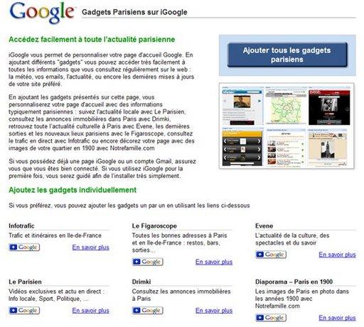 Google lance l'onglet Paris pour iGoogle