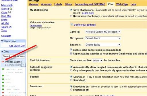 Chat audio et vidéo dans Gmail