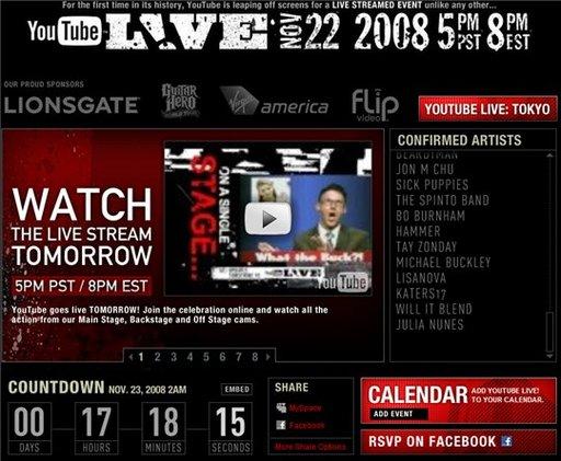 Youtube Live cette nuit à partir de 2 heures du matin