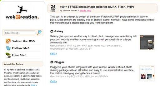 Un joli listing de 101 galeries d'images en PHP, Ajax et Flash