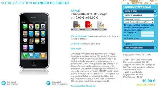 Bouygues télécom + iPhone = 19 Euros chez The Phone House