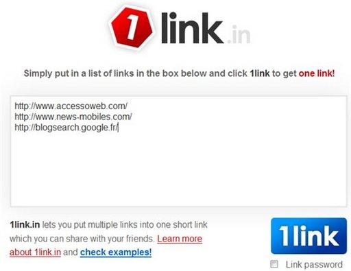 1Link.in - Réduisez plusieurs URL en 1 seul