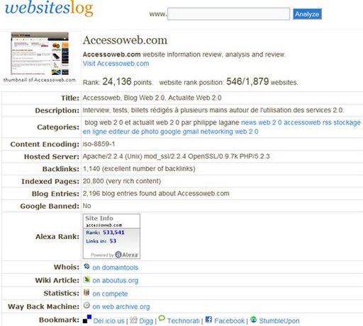 Websiteslog - Backlink, Rancking et informations sur les sites Web