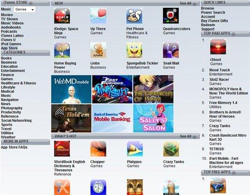 iTunes App Store .... en ligne ou presque :)
