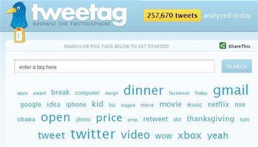 Tweetag - recherche sur Twitter par mots clés
