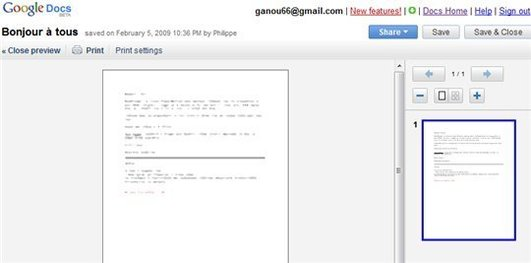 Google Documents intègre l'aperçu avant impression ...