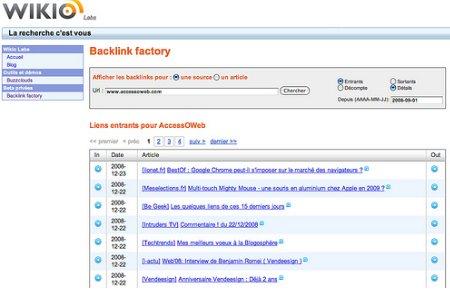 Backlink Factory de Wikio Labs en ligne pour tous