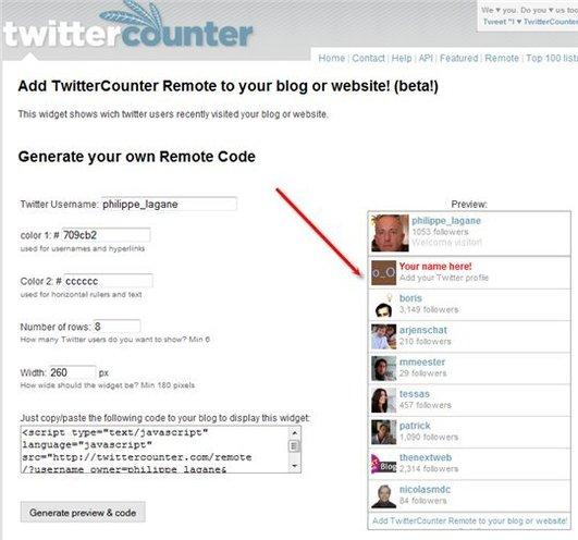 Twitter Remote - un excellent remplaçant de MyBlogLog