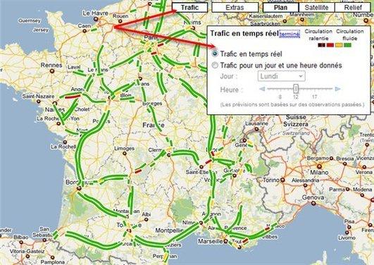 Google propose l'état du traffic routier sur Google Maps