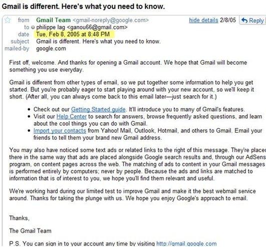 Déjà 4 ans sur Gmail - Souvenirs souvenirs