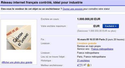 Hadopi vend l'Internet Français sur eBay
