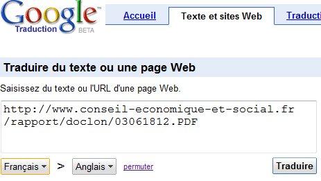 Google Traduction - Les PDF et les Google Documents ça marche aussi
