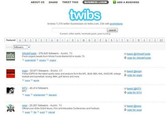 Twibs - un annuaire Business sur Twitter