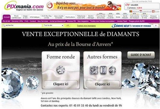 Des diamants à - 40% chez Pixmania