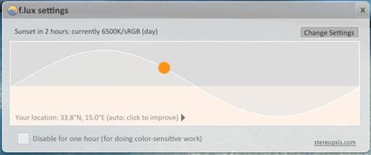 F.Lux - Gestion automatique de la luminosité de votre écran