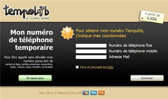 Tempolib - Le numéro de téléphone jetable