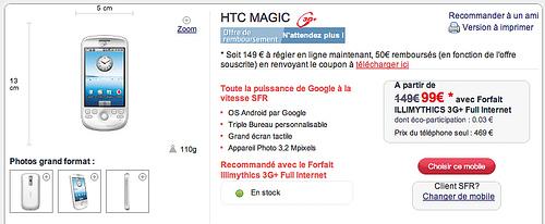 Le HTC Magic SFR est maintenant en vente