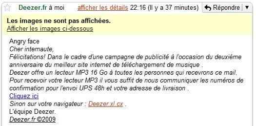 Attention aux FAUX mails de Deezer
