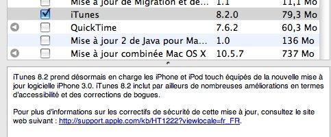 Mise a jour iTunes 8.2 pour le Firmware 3.0 iPhone