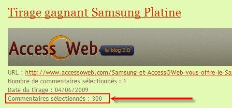 Samsung Platine - Le gagnant est ....