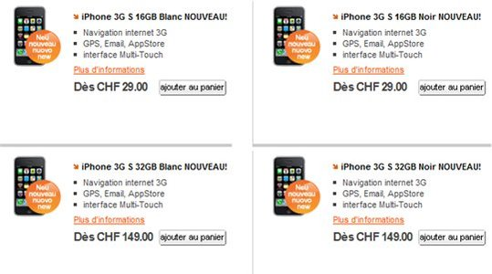 iPhone 3GS pour 85 € chez Orange Suisse !!! Et en France ?