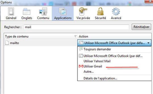 Mettre Gmail comme client email par défaut dans Firefox