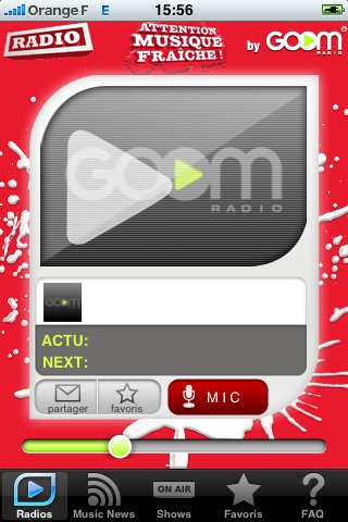 Goom Radio sur iPhone - Application SFR Music
