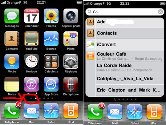 Firmware 3 iPhone - Spotlight est pas simple a trouver