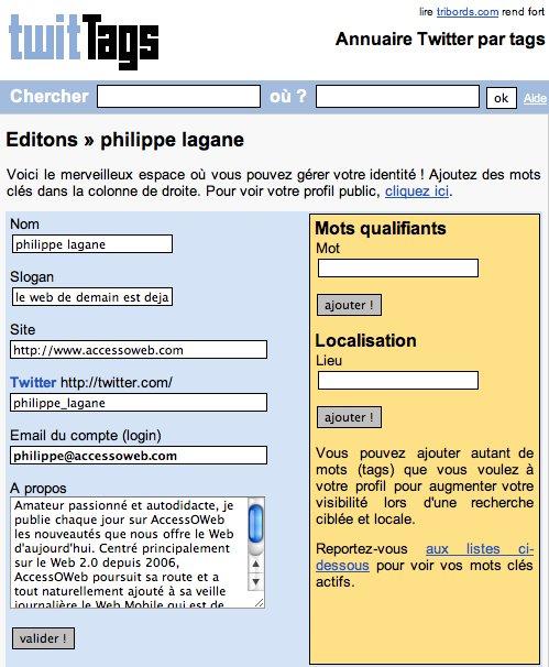 TwitTags - un annuaire Twitter francophone intéressant