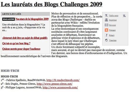 Challenges 2009 - Honneur d'y avoir été cité